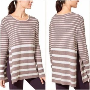 Athleta Brown White Striped Long Sleeve Sweater